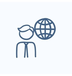 Man with globe sketch icon vector