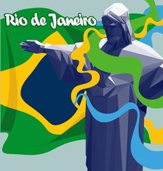 Abstract rio de janeiro Brasil national flag lines vector image