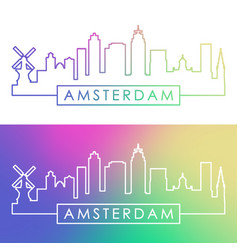 amsterdam skyline colorful linear style vector image