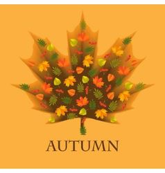 Autumn background with leaves laid out in the shap vector image
