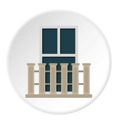 Balcony balustrade with window i icon circle vector