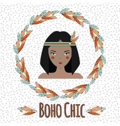Boho indian girl in feather wreath vector image vector image