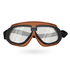 Brown aviation goggles in vintage style isolated vector