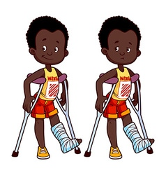 Cheerful and sad african american boy with a vector