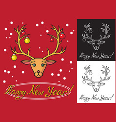 christmas deer and tree toys vector image vector image