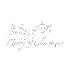 Christmas reindeer with text merry christmas vector