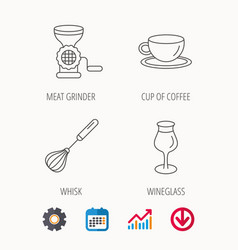 coffee cup whisk and wineglass icons vector image vector image