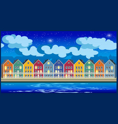 Colorful houses at night vector