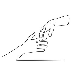 continuous line drawing of holding hands together vector image vector image