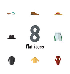 Flat garment set of male footware banyan trunks vector