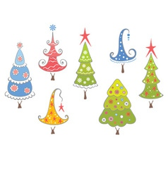 funny collection of christmas trees vector image