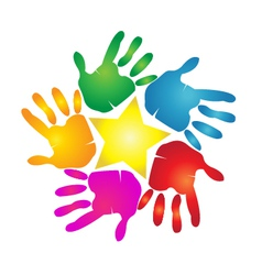 Hands print in vivid colors logo vector