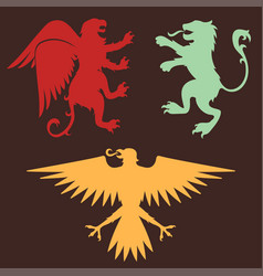 Heraldic lion royal crest medieval knight eagle vector