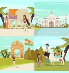 India 2x2 design concept set vector
