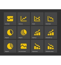 Line chart and Diagram icons vector image vector image