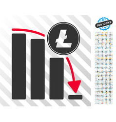 Litecoin falling acceleration chart flat icon with vector
