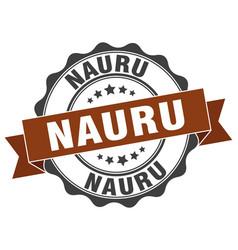 Nauru round ribbon seal vector