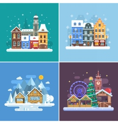 New Year and Winter Travel Backgrounds vector image