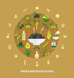 Olives round composition vector