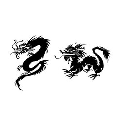 Paper cut out of a dragon china vector