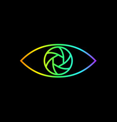 photography logo rainbow gradient eye line art vector image vector image
