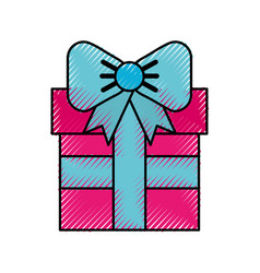 scribble cute fuchsia gift cartoon vector image