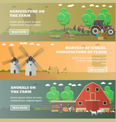 set of farm horizontal banners in flat vector image