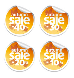 Set with sale autumn stickers vector