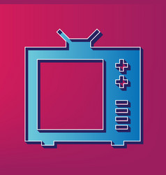 Tv sign blue 3d printed icon vector