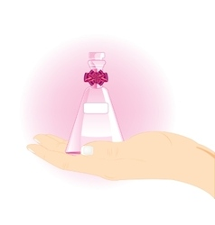Vial with spirit in hand vector image vector image