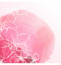 Watercolor background with orchid flowers vector