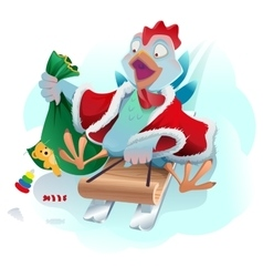 Christmas cock rolls on sledge from mountain blue vector