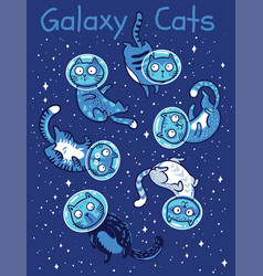 print with cats in space vector image