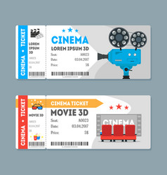 cartoon cinema tickets big set vector image