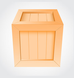 wooden box on white background vector image