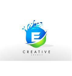 e letter logo blue green splash design vector image
