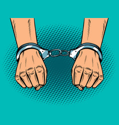 Hands in handcuffs pop art style vector