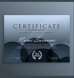 Abstract blue dark certificate template design vector
