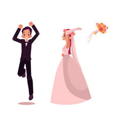 Groom and bride character set isolated vector