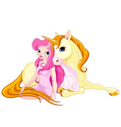 Fairy and unicorn vector