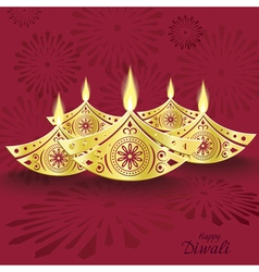 Design of burning diwali diya for greeting card vector
