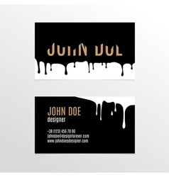 Business card design with dripping black paint vector