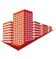 Red sign with skyscrapers vector