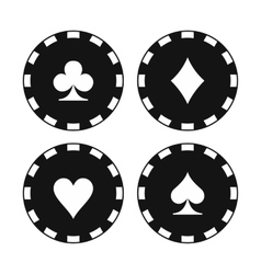 Card suit casino chips icons vector