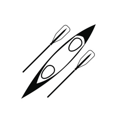 Kayak and rowing oar black simple icon vector
