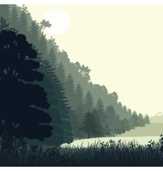 Natural landscape with pines vector
