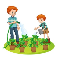 Father and son watering the plants vector