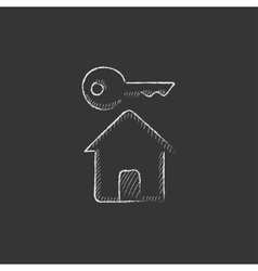 Key for house drawn in chalk icon vector