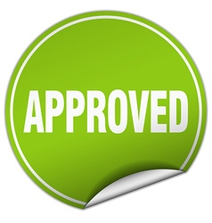 approved round green sticker isolated on white vector image vector image