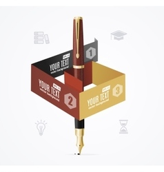 Business Infographic Concept with Fountain Pen vector image
